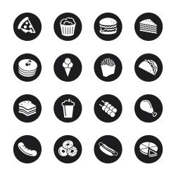 Fast Food Icons - Black Circle Series