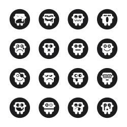 Emoticons Set 1 - Black Circle Series