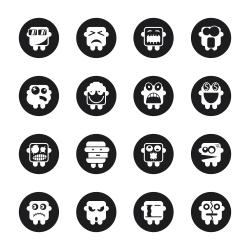 Emoticons Set 2 - Black Circle Series