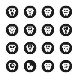 Emoticons Set 3 - Black Circle Series