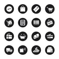Shopping Icons - Black Circle Series