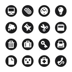 Office Icons Set 1 - Black Circle Series