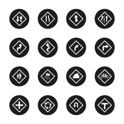 Traffic And Road Sign Icons - Black Circle Series