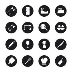 Kitchen Design Icons - Black Circle Series