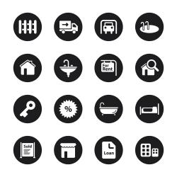 Real Estate Icons Set 1 - Black Circle Series