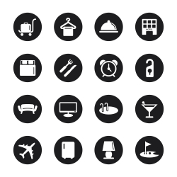 Hotel Icons Set 1 - Black Circle Series