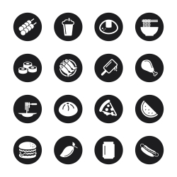 Lunch Icons - Black Circle Series
