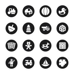 Toys Icons - Black Circle Series