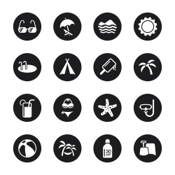 Summer Season Icons - Black Circle Series