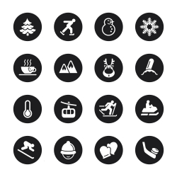 Winter Season Icons - Black Circle Series