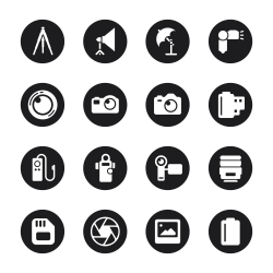 Photography Icons - Black Circle Series