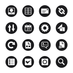 Web Developer Tool Icons - Black Circle Series