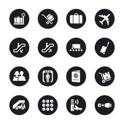 Airport Icons - Black Circle Series