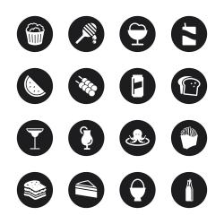 Food and Drink Icons Set 3 - Black Circle Series
