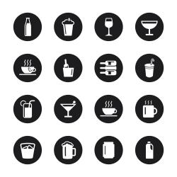 Drink Icons Set 1 - Black Circle Series
