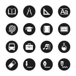 Education Icons - Black Circle Series