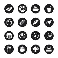 Eating Icons Set 1 - Black Circle Series