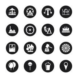 Theme Park Icons - Black Circle Series
