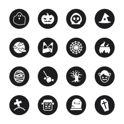 Halloween Icons - Black Circle Series