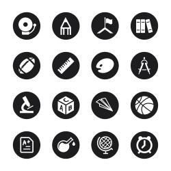 School Icons - Black Circle Series