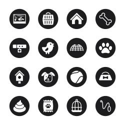 Pet Icons - Black Circle Series