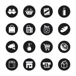 Supermarket Icons - Black Circle Series
