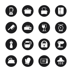Kitchen Utensils Icons - Black Circle Series