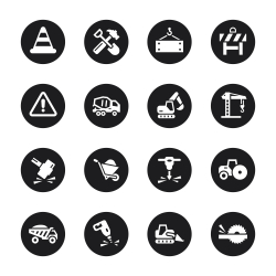 Construction Icons - Black Circle Series