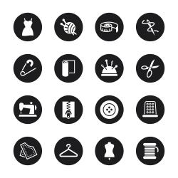 Sewing Icons - Black Circle Series