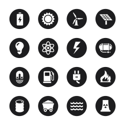 Energy Icons - Black Circle Series