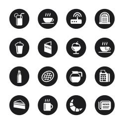 Cafe Icons - Black Circle Series
