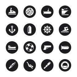 Navy Icons - Black Circle Series
