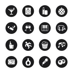 Pub and Bar Icons - Black Circle Series