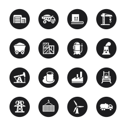 Factory and Industry Icons - Black Circle Series