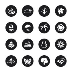 Four Seasons Icons Set 1 - Black Circle Series