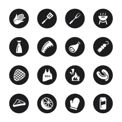 Barbecue Icons - Black Circle Series