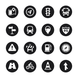 Traffic Icons - Black Circle Series