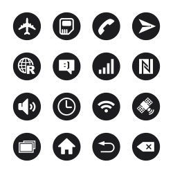 Smartphone Interface Icons - Black Circle Series