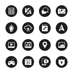 Smartphone Functions Icons - Black Circle Series
