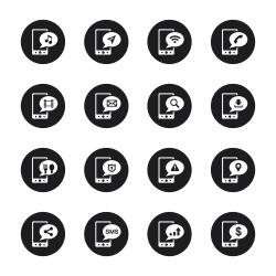 Mobile Phone Icons Set 1 - Black Circle Series