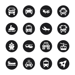 Transportation Icons Set 2 - Black Circle Series