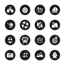 Travel and Vacation Icons Set 3 - Black Circle Series