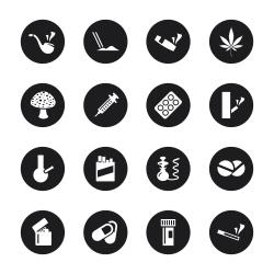 Narcotics and Drugs Icons - Black Circle Series