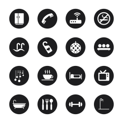 Hotel Icons Set 2 - Black Circle Series