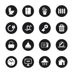 Home Icons - Black Circle Series