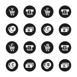 Currency Symbol Icons Set 3 - Black Circle Series