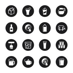 Drink Icons Set 3 - Black Circle Series