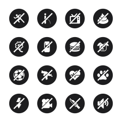 Prohibitions Icons Set 2 - Black Circle Series