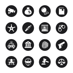 Justice and Law Icons - Black Circle Series