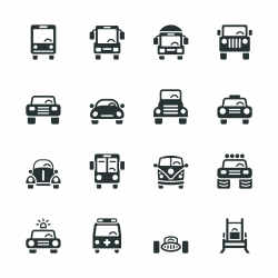 Car Collection Silhouette Icons